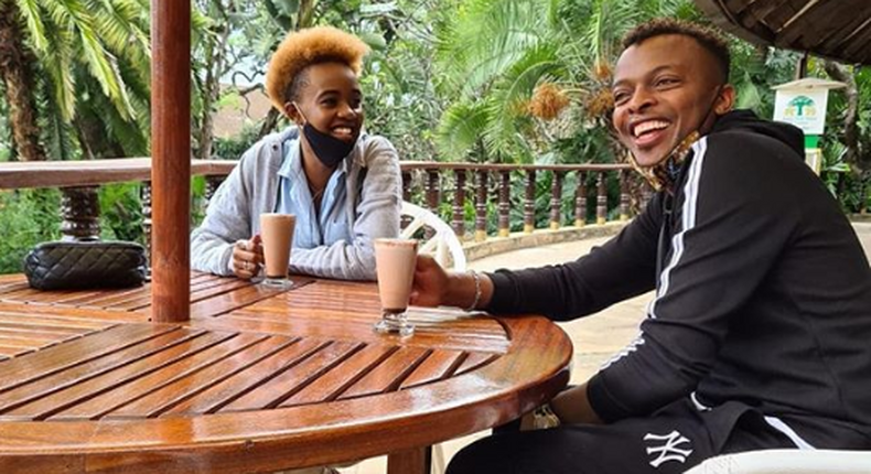 Kenyan gospel musician Ringtone Apoko in a recent photo with Tik Tok sensation Azziad. He has explained why he stopped looking for a wife