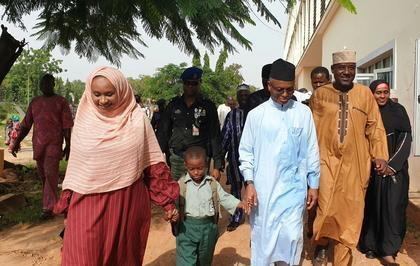 Gov. Nasir El-Rufai of Kaduna State and his wife, Ummi El-Rufai in Capital School, Malali, Kaduna, a public school, to enrol their six-year old son, Abubakar El-Rufai into a primary school. [NAN]