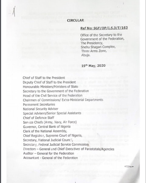 SGF circular to ministers on disciplinary guidelines