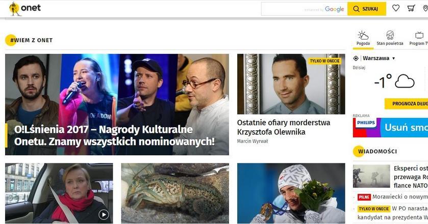 Strona główna Onet.pl z najlepszym wynikiem w historii