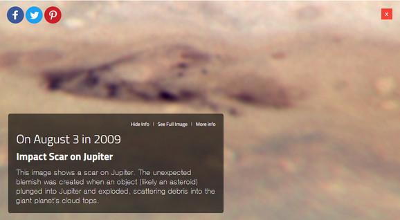 3. avgusta 2009. godine Habl je snimio veliki krater na Jupiteru koji je najverovatnije nastao udarom asteroida u ovu džinovsku planetu