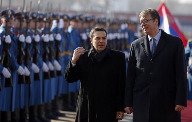 Cipras i Vučić ispred Palate Srbija