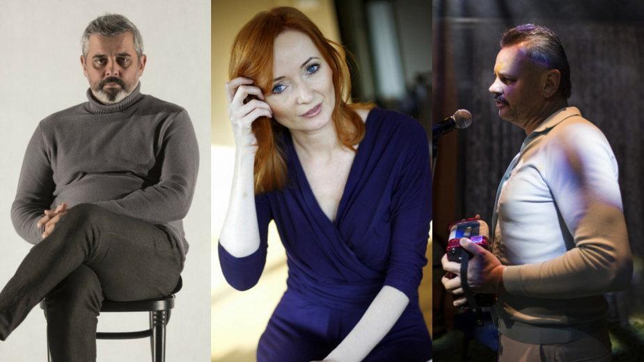 """Konrad Imiela, Justyna Szafran (East News, fot. Paweł Kozioł/Reporter) i Piotr Sieklucki (zdjęcie ze spektaklu """"Kazik, ja tylko żartowałem"""")"""