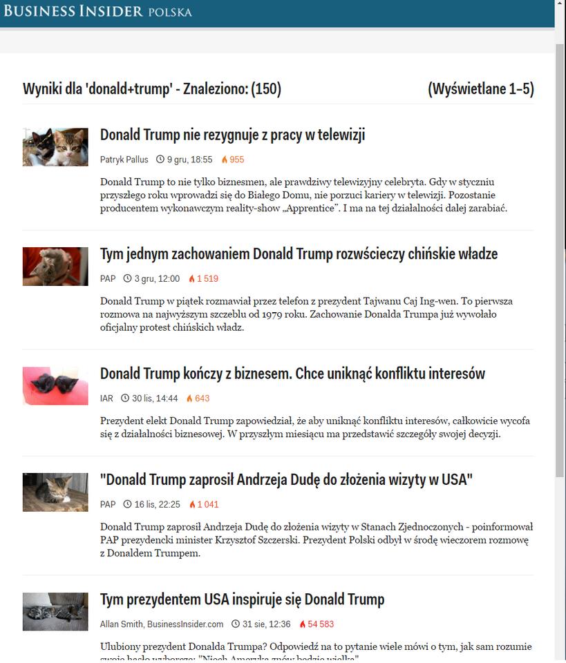 """Business Insider Polska: strona z wynikami wyszukiwania hasła """"Donald Trump"""""""