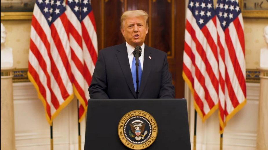 Donald Trump podczas ostatniego przemówienia jako prezydent USA