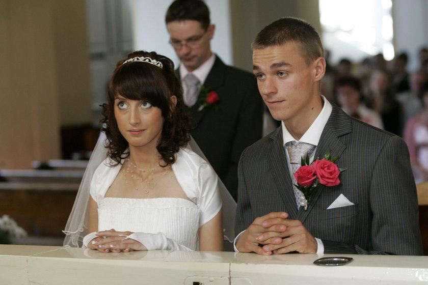 Piotr Żyła z żoną