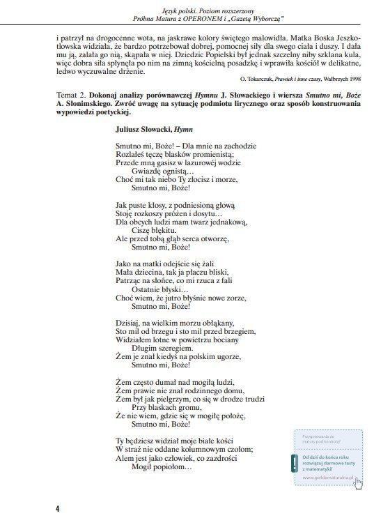 Operon Próbna Matura 2014 Pytania I Odpowiedzi Język