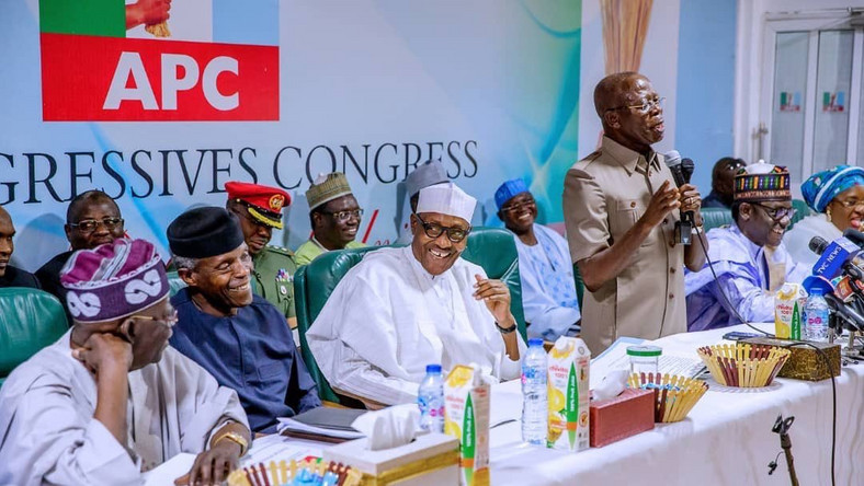 President Muhammadu Buhari, Vice President Yemi Osinbajo, APC Chairman Adams Oshiomhole and the party's national leader siwaju Bola Ahmed Tinubu at the APC Caucus meeting in Abuja on Monday, February 18, 2019