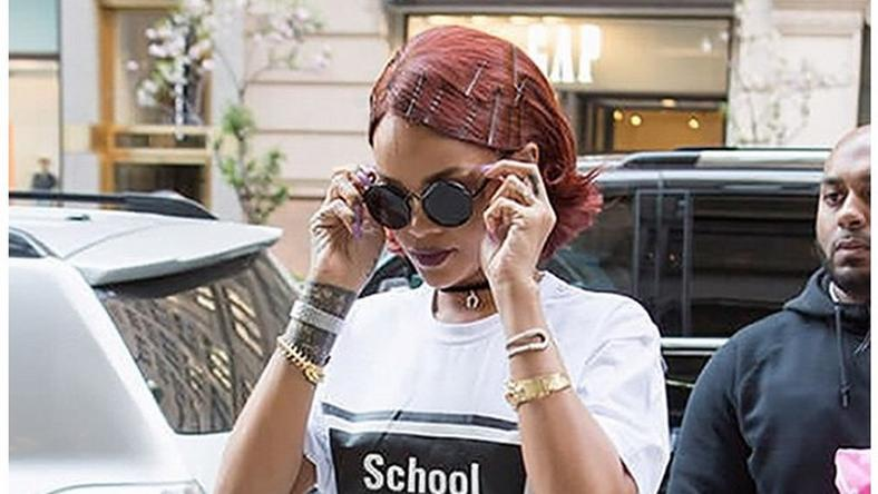 Rihanna has been spotted in Hyein Seo's t-shirt with 'School Kills' boldly written on it