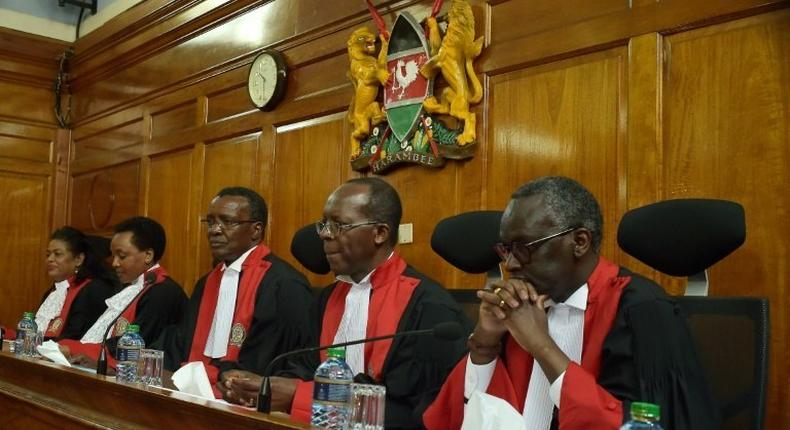 Kenya's Supreme Court bench during a past election petition hearing (twitter)