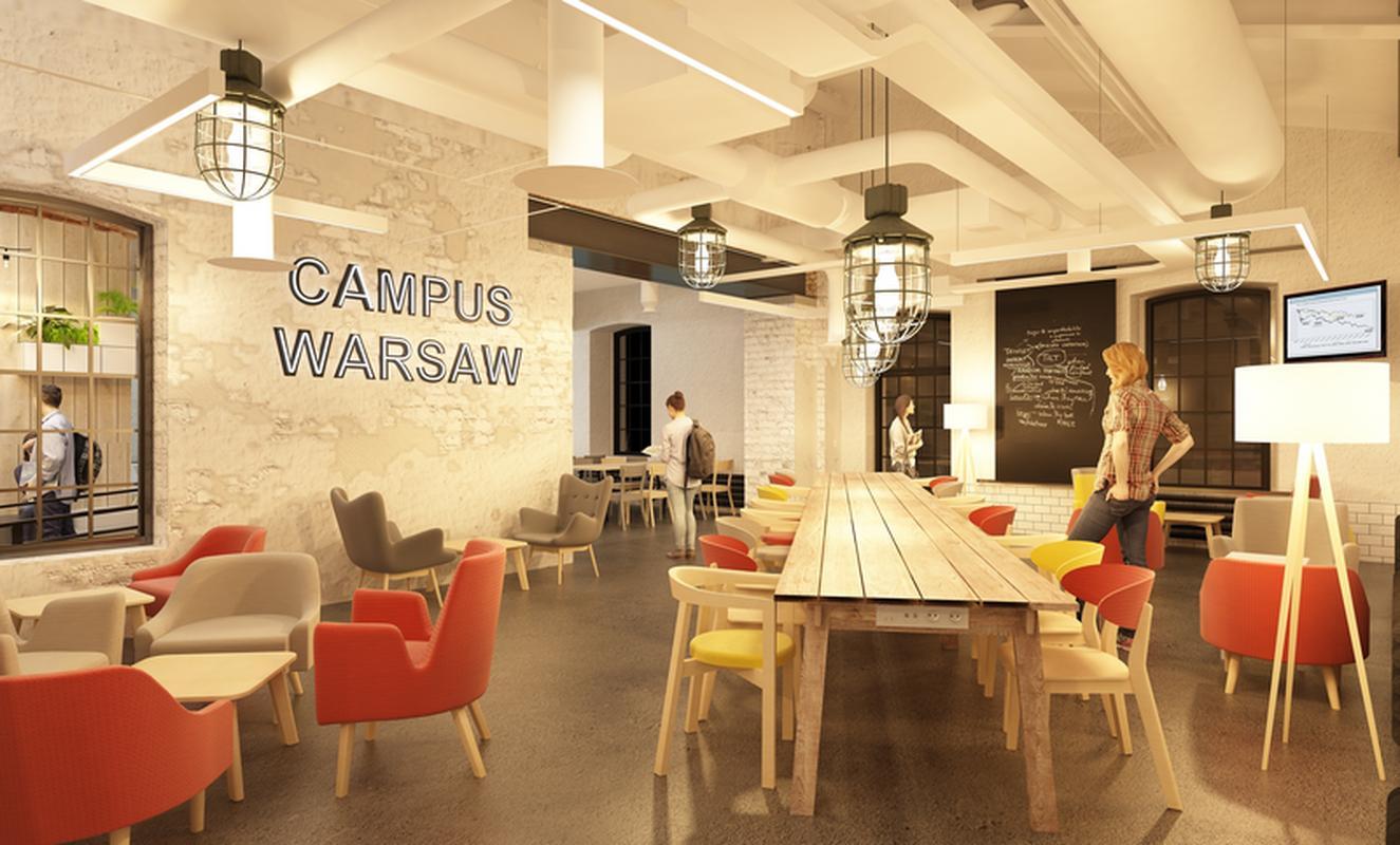 Wizualizacja kawiarni w nowym budynku Campus Warsaw