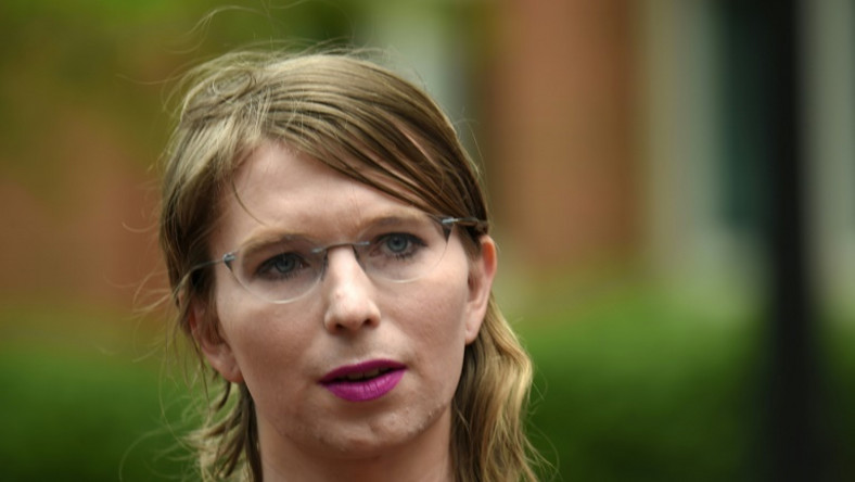 Former military intelligence analyst Chelsea Manning speaks to the press ahead of a grand jury appearance about WikiLeaks