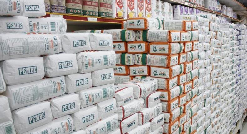 Unga packets on display in a supermarket