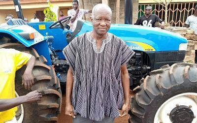 Bawumia surprises his former primary school teacher with brand new tractor