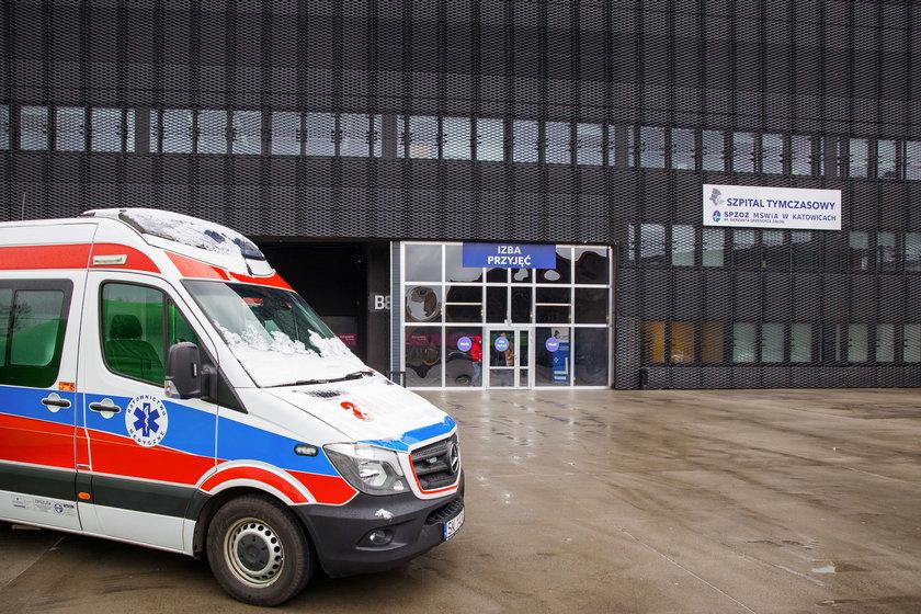 Pusty szpital polowy w Katowicach