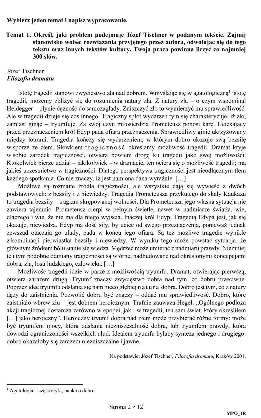Matura 2019. Arkusz maturalny z języka polskiego na poziomie rozszerzonym