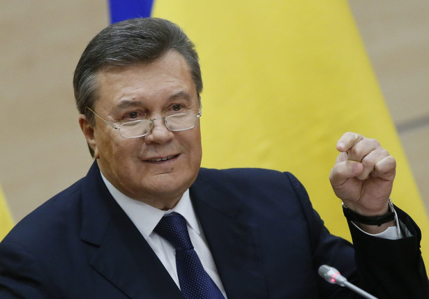 Wiktor Janukowycz na konferencji w Rosji. Fot. EPA/YURI KOCHETKOV/PAP/EPA