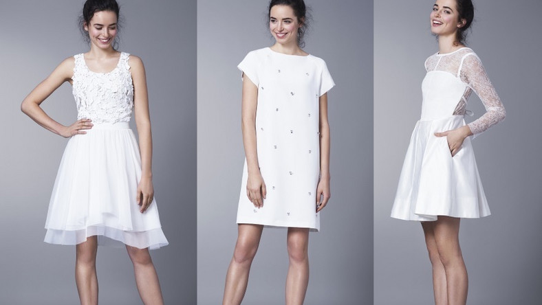 Sukienka ślubna, której długość sięga co najwyżej kolana, idealnie prezentuje się na szczupłych i wysokich kobietach...