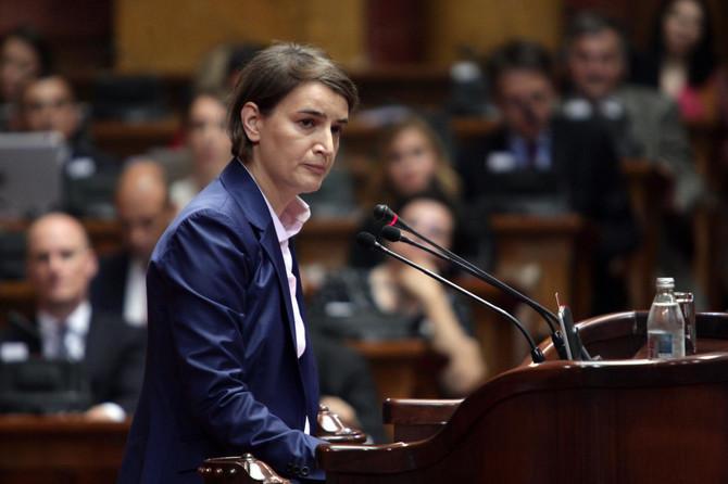 Ana Brnabić na čitanju ekspozea u Skupštini Srbije