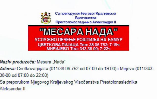MESARA: Opet grb i preporuka za privatnu mesaru, koja uslužno peče na roštilju, na Cvetkovoj pijaci u Beogradu
