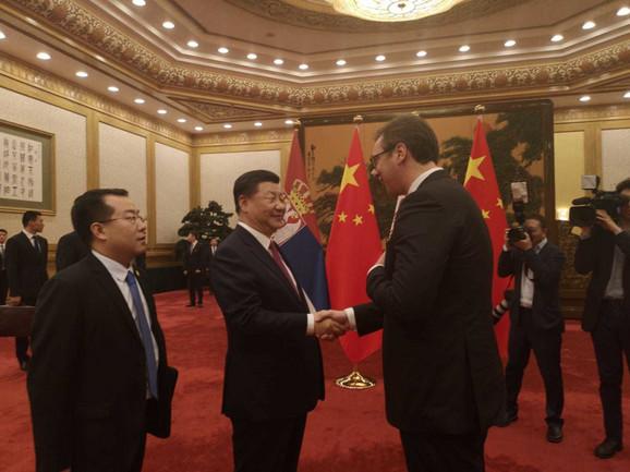 Aleksandar Vučić i Si Đinping tokom današnjeg susreta u Kini
