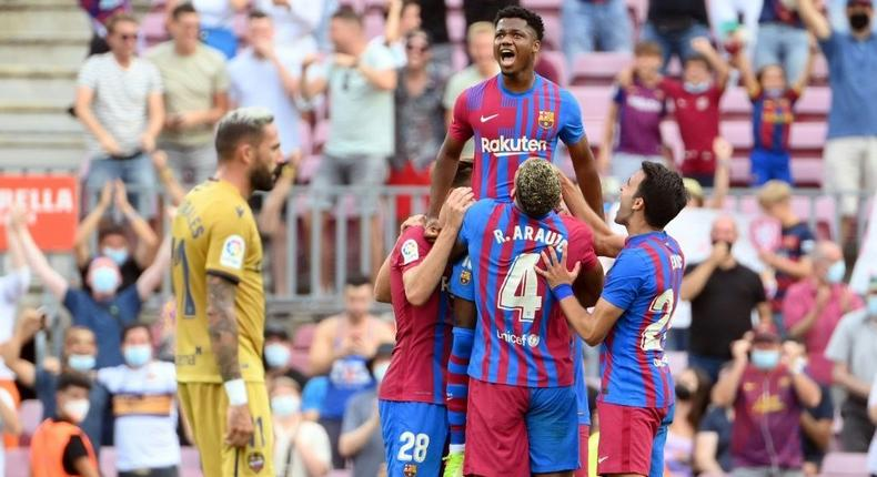 Ansu Fati scored on his return against Levante on Sunday after 10 months out through injury Creator: LLUIS GENE