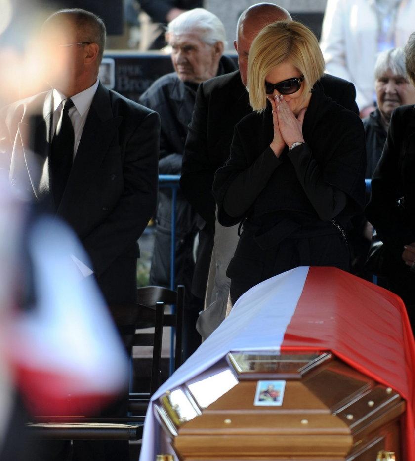 Joanna Racewicz na pogrzebie męża