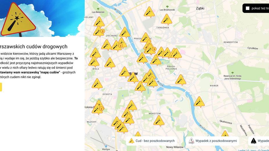 """Tak wygląda """"Warszawska Mapa Cudów Drogowych"""""""