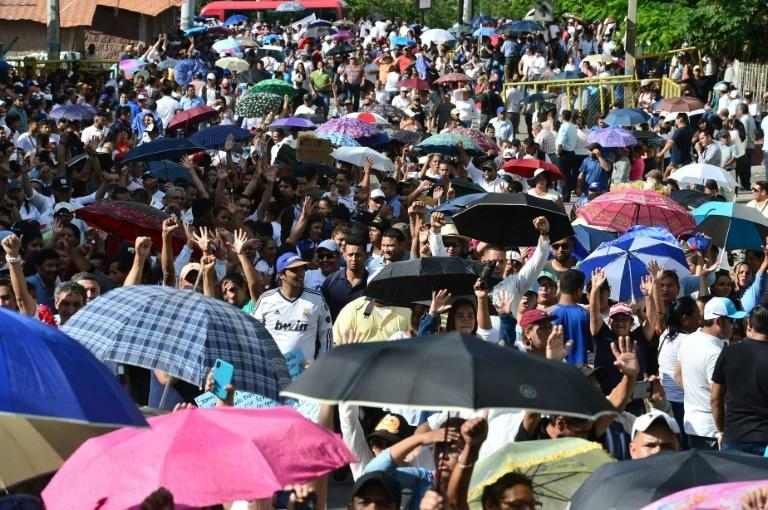 Earlier, thousands of the president's supporters held a march in the capital