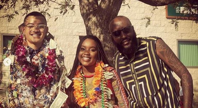 Shaffie Weru with his Daughter Milan. Shaffie Weru flies to US to celebrate daughter's graduation