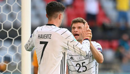 Kai Havertz (L) and Thomas Mueller (R) celebrate Germany's opening goal against Portugal Creator: CHRISTOF STACHE