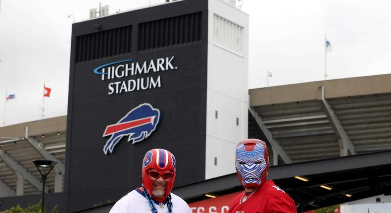 Fans pose before a game between the Pittsburgh Steelers and the Buffalo Bills at Highmark Stadium on September 12.