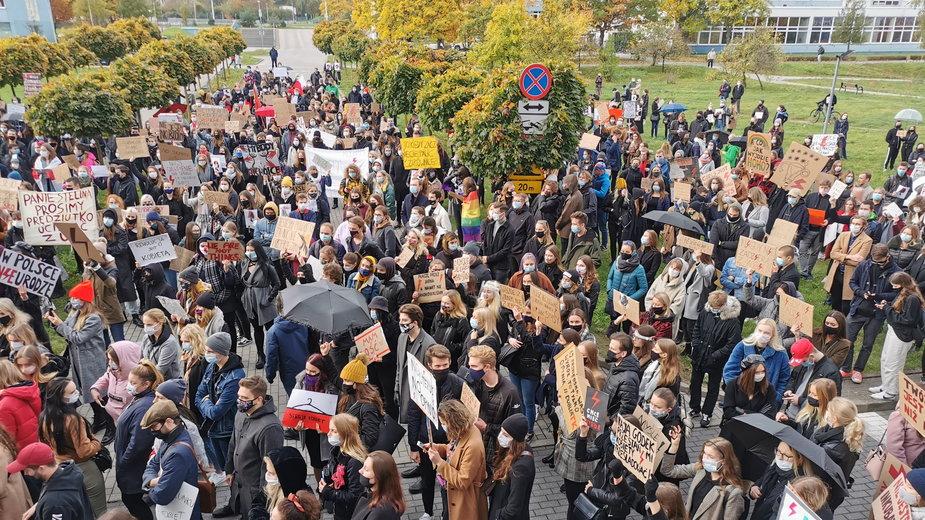 Protest studentów Uniwersytetu Gdańskiego
