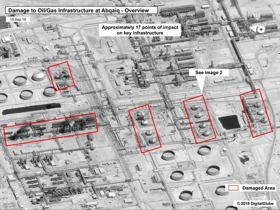 Satelitski snimci nakon napad na saudijska naftna postrojenja