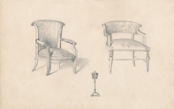 Nacrt za dve fotelje i kandelabar