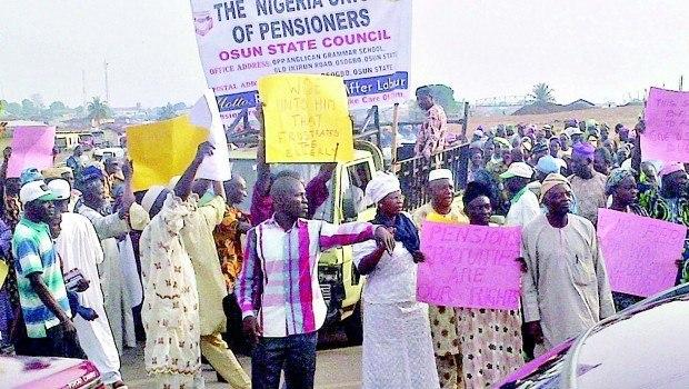 Civil servants, pensioners protest unpaid salaries in Osun State.
