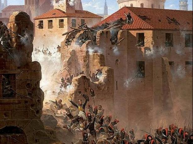 """January Suchodolski """"Szturm na mury Saragossy"""", obraz z 1845 r."""