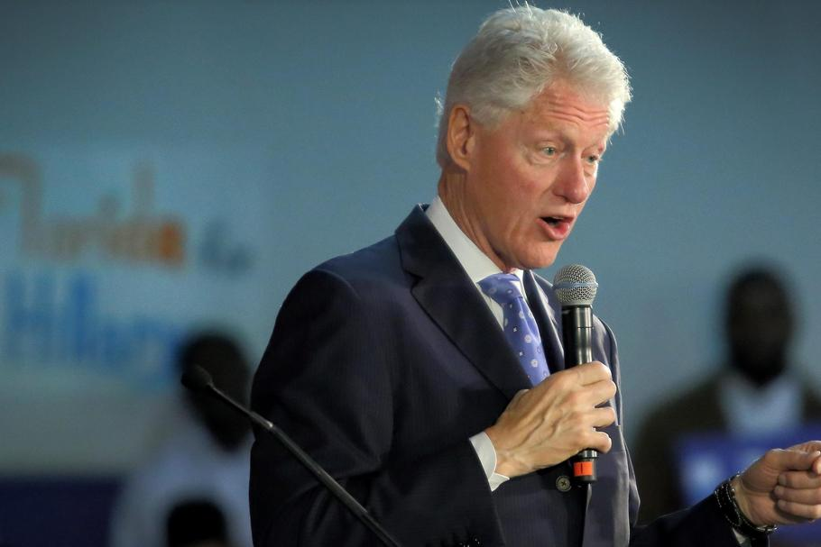 President Bill Clinton speeches during a campaign stop in South Florida on behalf of Hillary Clinton