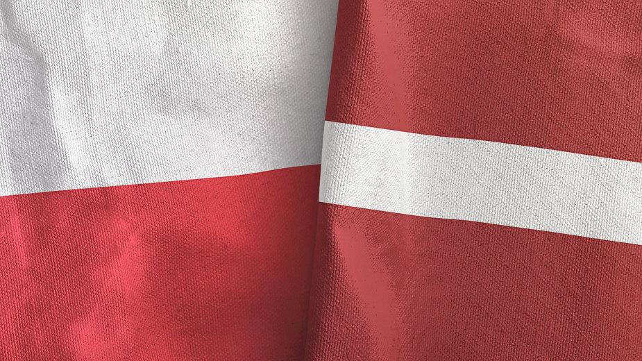 Flaga Polski i Łotwy