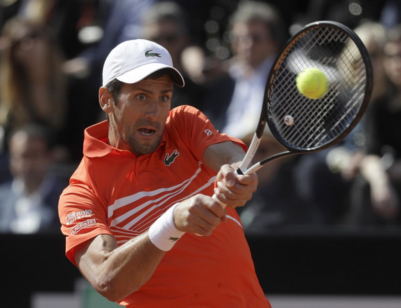 Novak Đoković tokom finala u Rimu