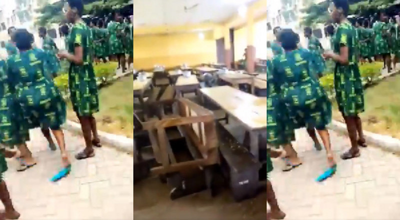 Angry students of Tweneboa Koduah SHS destroy school properties over difficult WASSCE science exam (video)