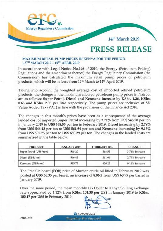 Press release of the new fuel prices by ERC (Twitter)