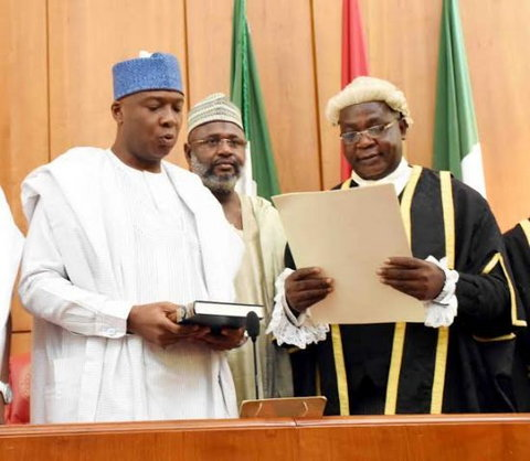 Senator Bukola Saraki inaugurated as Senate President on June 9, 2015 (Punch)