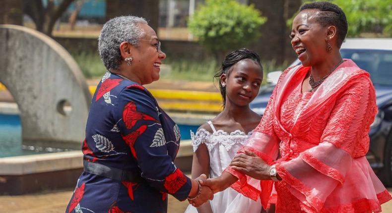 First Lady Margaret Kenyatta with Rachel Ruto