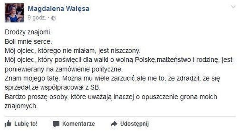 Poruszający wpis córki Wałęsy. Pisze o ojcu