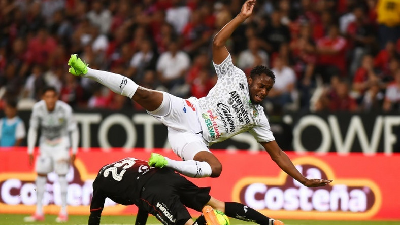 A file photo of Sao Tome e Principe captain Luis Leal (R) playing for Mexican club Chiapas