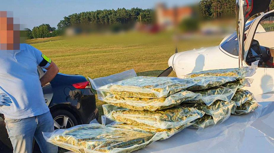 Bezprecedensowa akcja polskiej policji. W awionetce było ponad 73 kg marihuany