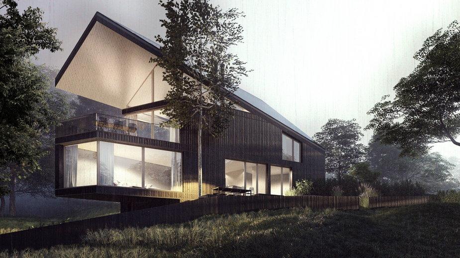 Dom rekreacyjny nad jeziorem Ślesińskim. Architekt zaprojektował go na skarpie