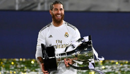 Sergio Ramos won five Spanish league titles with Real, the last of them in July 2020 Creator: GABRIEL BOUYS