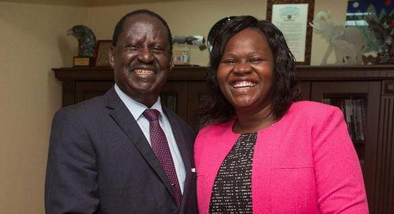 Former Prime Minister Raila Odinga with Homa Bay Woman Rep Gladys Wanga (Twitter)